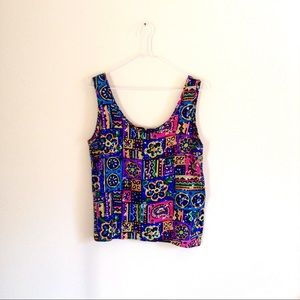 🇺🇸 Wildly Colorful Patchwork Floral Print Top